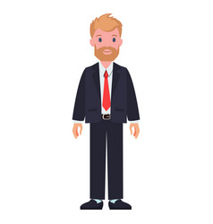 Man in black suit white shirt and red tie beard vector
