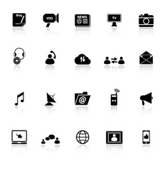 Media icons with reflect on white background vector image