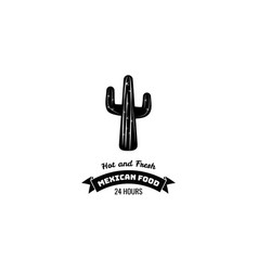 mexican restaurant icon template cactus vector image
