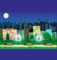 modern city view in night cityscape and park vector image
