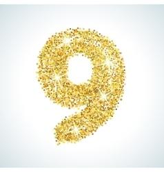Nine number in golden style vector