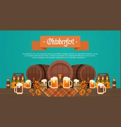 oktoberfest beer festival banner wooden barrel vector image