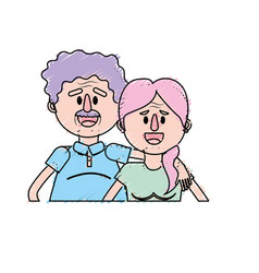 Old couple with hairstyle design vector