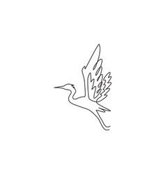 one single line drawing beautiful flying heron vector image