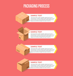 Packing process banner with paper boxes vector