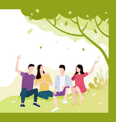 people spending time on nature friends in park vector image