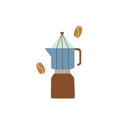 percolator or geyser coffee maker in flat cartoon vector image