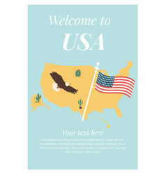 poster with usa map and americas symbols vector image