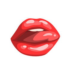 red female mouth with glossy lips and sticking out vector image