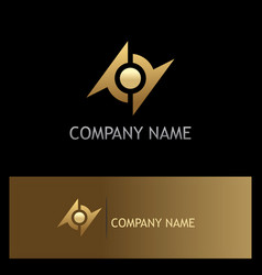 round abstract gold technology logo vector image