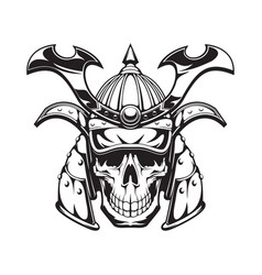 samurai warrior skull tattoo japanese ninja mask vector image
