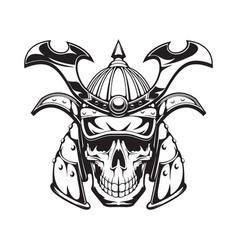Samurai warrior skull tattoo japanese ninja mask vector