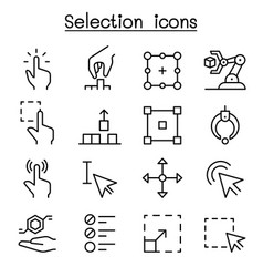 selection icon set in thin line style vector image