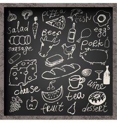 Set of hand-drawn food on chalkboard vector image