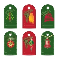 Set of vintage Christmas gift tags vector image