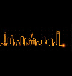 Shanghai light streak skyline vector