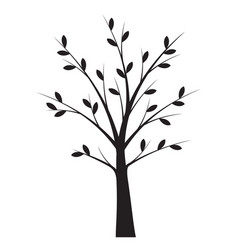 Shape black tree with leaves outline vector