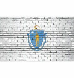 Shiny flag massachusetts on a brick wall vector