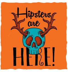 Skull with deer horns t-shirt label design vector