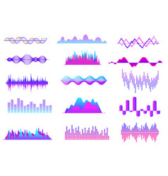 Sound waves color music wave audio tune waveform vector