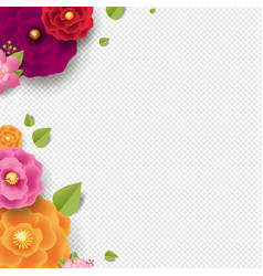 Spring border with color flowers transparent vector