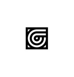 square stripes logo letter g vector image