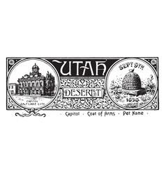 State banner utah vintage vector