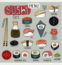 Sushi doodles collection vector