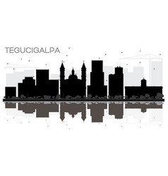 tegucigalpa honduras city skyline black and white vector image