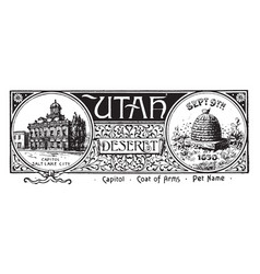 The state banner of utah vintage vector