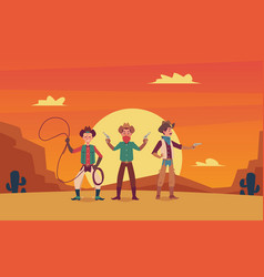 three cowboys cartoon characters on wild west vector image