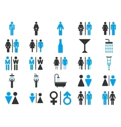 Toilet Persons Flat Icon Set vector image