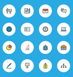 Trade icons colored line set with growing stats vector