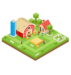 village agriculture farm rural house building vector image