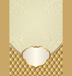 vintage background with golden frame and ornaments vector image