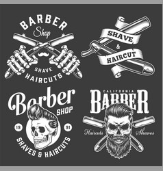 Vintage barbershop monochrome prints vector