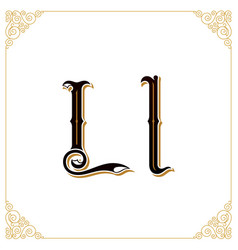 Vintage font letter and monogram in the vector