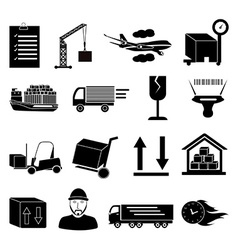 Warehouse logistics icons set vector image