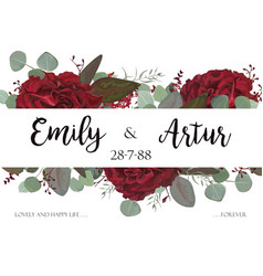 Wedding floral invite card design with flowers vector