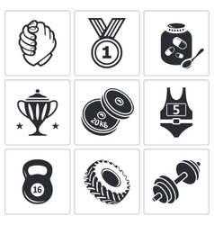Weight lifting and arm wrestling icon set vector image