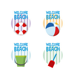 welcome to beach cartoons vector image