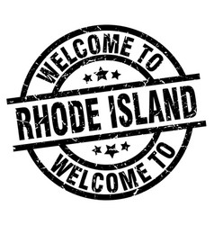 welcome to rhode island black stamp vector image