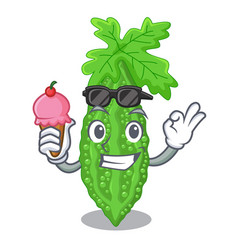 With ice cream bitter melon gourd on shape cartoon vector