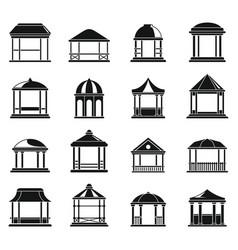 wood gazebo icons set simple style vector image