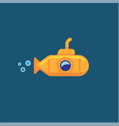 Yellow submarine underwater in sea water vector