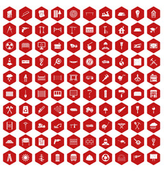 100 building materials icons hexagon red vector