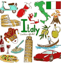 Collection of Italy icons vector image vector image