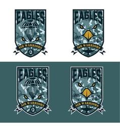 Eagles air warrriors army shields set design vector