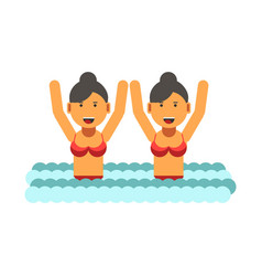 female twins in swimsuits with raised hands in vector image vector image