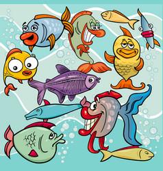 Funny fish cartoon characters group vector